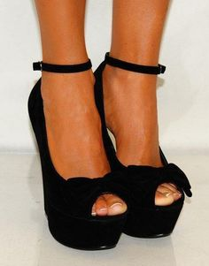 Tall black wedges with bows!!