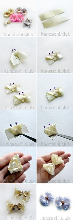 Маленькие пышные #бантики из атласной ленты 2,5 см. Ribbon Hair Clips, Hair Ribbons, Ribbon Art, Diy Hair Bows, Diy Ribbon, Fabric Ribbon, Ribbon Crafts, Flower Crafts, Kanzashi Tutorial