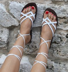 SALE 5 dollar off / White Sandals, lace up sandals, womens shoes, leather sandals handmade shoes, white leather Sandals made In Italy