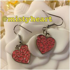 """Pink Enamel Heart Earrings Brand new. Handmade by me. Made of alloy. The charm could have lead in the paint. But as long as you don't suck on your earrings you're ok.  1 1/2"""" Long Jewelry of the Future Jewelry Earrings"""