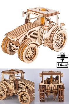 Toy Set Rubber Tractor is a prefect gift for children. #gift #carmodel #woodenPuzzle Model Cars Kits, Kit Cars, Wooden Model Kits, Wood Sizes, Wooden Puzzles, Wooden Diy, Three Dimensional, Tractors, Gifts For Kids