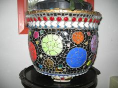 circles mosaic pot, Cheri Griffith, Brookings, OR