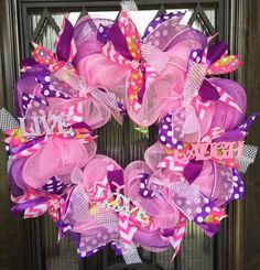 """""""Live, Laugh, Love"""" Pinks, Purples, Polka Dotted Wreath"""