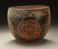 Vessel with Glyphic Text, Guatemala, Petén, Maya, 400-550 A.D., Ceramic with red, cream, and black slip.:
