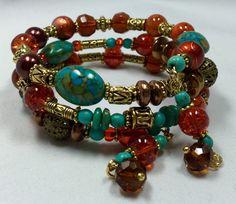 Turquoise & Orange Wrap Bracelet TDC 160 by TheaDesignConcepts
