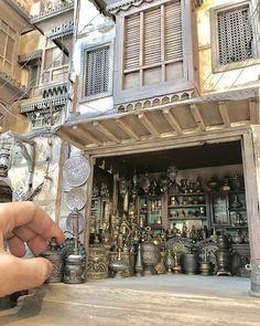 Abdul Rahman Eid Syrian artist living in Jeddah Jeddah, Glass Building, Building Design, Minimal Design, Modern Design, Set Design, Vitrine Miniature, Antique Dishes, Miniature Crafts