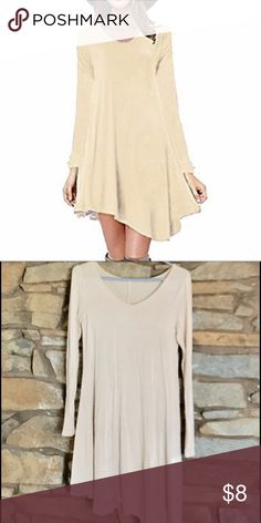 Asymmetrical hemline shift dress Beige comfy shift dress with asymmetrical hemline. Looks good with over the knee boots Poseshe Dresses Asymmetrical