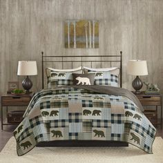 Woolrich Twin Falls Reversible King/california King Quilt Set In Brown/blue King Quilt Sets, Queen Quilt, Quilt Bedding, Bedding Sets, California King Quilts, Plaid Quilt, Tartan Plaid, Twin Falls, Thing 1