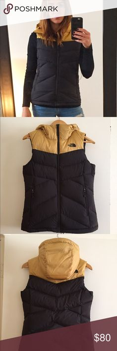 North Face Hooded Vest Super warm and stylish. Harley worn. Excellent condition! The North Face Jackets & Coats Vests