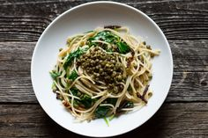 lemon, olive oil, + roasted garlic pasta with spinach andlentils