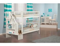 Woodland Twin over Twin White Staircase Bunk Bed Staircase Bunk Bed, White Staircase, Bunk Beds With Stairs, Underbed Storage Drawers, Bunk Beds With Storage, Under Bed Storage, White Bunk Beds, Twin Bunk Beds, Kids Bunk Beds