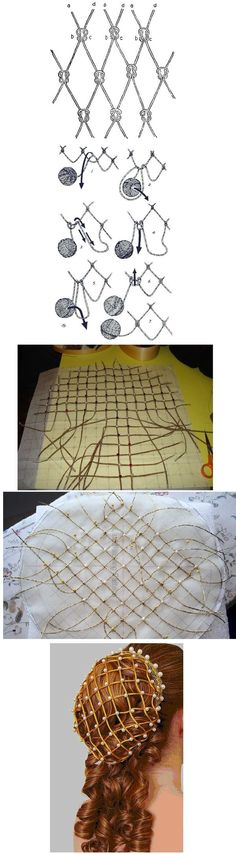 ~ SEWING IDEAS ~ Previous pinner writes: how to make an italian renaissance beaded hairnet (called a snood or caul) Costume Renaissance, Medieval Costume, Renaissance Fashion, Renaissance Clothing, Italian Renaissance, Renaissance Hairstyles, Historical Costume, Historical Clothing, Costume Patterns