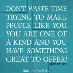 Don't waste time trying to make people like you. You are one of a kind and you have something great to offer! -Joel Osteen