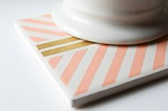 Peach & Gold Hand Painted Geometric Coasters Hand by theCoastal, $30.00