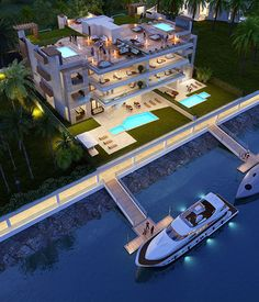 Waterfront Residences - Ocean Reef Islands Sims House, House Layouts, Casa Linda, House Rooms, Luxury Modern Homes, Exotic Homes, Dream Mansion, Miami Houses, Fancy Houses