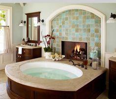 Bathtub with a fire place: dream house ideas
