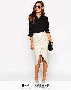 ASOS - Jupe fourreau style portefeuille en cuir avec poches