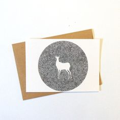 A6 postcard with deer hidden in a triangle-theme.    Includes a matching brown envelope made from packaging paper. Please note that the colors of the envelopes may slightly vary, depending on the packaging paper they are made from. | Shop this product here: spree.to/aks7 | Shop all of our products at http://spreesy.com/BleuWaveImages    | Pinterest selling powered by Spreesy.com