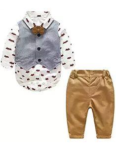 Baby Boy Gentleman Suit Cartoon Foxes Bowtie Rompers Shirt + Vest + Pants Toddler 3pcs Outfit #toddleroutfits