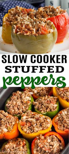 Need an easy crock pot recipe? Try this delicious Crock pot Stuffed Peppers recipe that is better than the traditional stuffed peppers recipe. # Food and Drink ideas crock pot Crock Pot Stuffed Peppers Recipe - stuffed peppers crock pot recipe Slow Cooker Desserts, Slow Cooker Recipes, Cooking Recipes, Healthy Recipes, Healthy Crock Pot Meals, Crock Pot Dinners, Easy Crockpot Recipes, Beef Recipes, Soup Recipes