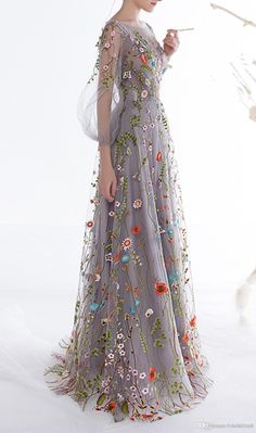Elegant Prom Dresses, Ethel Women Zipper Back Floral Embroidery Long Sleeves Evening Dresses Shop for La Femme prom dresses. Elegant long designer gowns, sexy cocktail dresses, short semi-formal dresses, and party dresses. Fashion Vestidos, Fashion Dresses, Maxi Dresses, Floral Fashion, Fashion Clothes, Flower Dresses, Prom Dresses Long With Sleeves, Homecoming Dresses, Long Dresses