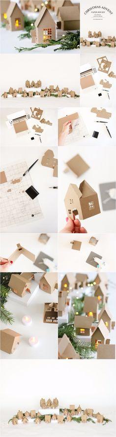 Christmas Advent Paper Houses – delia creates | diyfunidea.com