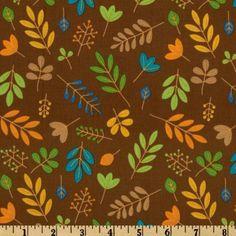 Riley Blake Zoofari Organic Leaves Brown