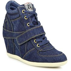 Ash Bowie Denim Wedge Sneakers ($185) ❤ liked on Polyvore featuring shoes, sneakers, apparel & accessories, strap sneakers, wedge sneakers, ash shoes, grip trainer and lace up sneakers