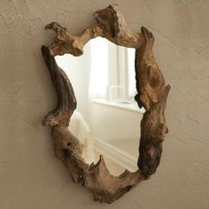 Bring an organic shape to your bathroom, foyer, family or living room with the Natural Root Mirror. Made of real wood and plain mirror. Each piece is unique. Rustic Furniture, Diy Furniture, Furniture Design, Modern Furniture, Natural Wood Furniture, Driftwood Furniture, Furniture Dolly, Furniture Logo, Outdoor Furniture