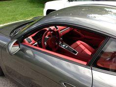 porsche 981C Agate grey with Red Interior.
