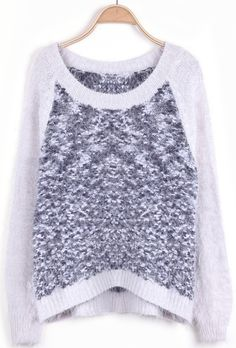 Apricot Long Sleeve Contrast Mohair Sweater EUR€23.58