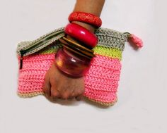 Colorblock Crochet Clutch Neon pink Neon Yellow Grey by faima, $32.00