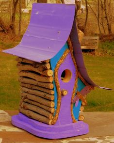 bird house, Birdhouse, Whimiscal birdhouse in color options with dragon fly and wire fret work, gard Homemade Bird Houses, Fairy Tree Houses, Rain Design, Bird House Feeder, Bird Houses Painted, Stained Glass Christmas, Bird Boxes, Unique Gardens, Cardboard Crafts