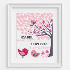 Baby Girl Cross Stitch Pattern, Birth Announcement, DIY Customizable Record, Embroidery Chart, Personalized Baby Shower Gift, Cute Girl Birds Animal No154 This is a digital item. The PDF file of the pattern will be available for instant download once payment is confirmed. Instant Digital Download: 5 PDF included. You can use the best of you. You can find more baby-children patterns: https://www.etsy.com/shop/NikkiPattern?ref=hdr_shop_menu&section_id=189...