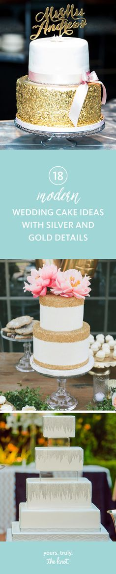 Bring your wedding cake to a whole new level with sparkly bling or metallic, glam detailing.