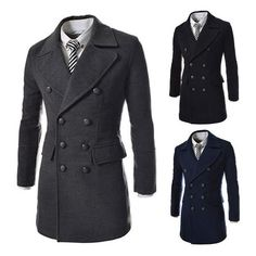 High quality 2014 Men's Dust Coat man overcoat winter men's long... ❤ liked on Polyvore featuring men's fashion, men's clothing, men's outerwear, men's coats, mens long coat, mens trench coat, mens trenchcoat and mens double breasted long coat
