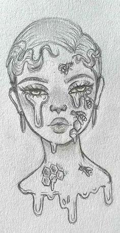 Girl Drawing Sketches, Art Drawings Sketches Simple, Pencil Art Drawings, Cute Drawings, Indie Drawings, Psychedelic Drawings, Drawing Ideas, Fantasy Drawings, Cartoon Drawings
