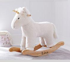 Kid Ivory Faux Fur Unicorn Rocker | Pottery Barn Kids