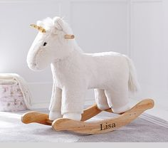 Kid Ivory Faux Fur Unicorn Rocker | Pottery Barn Kids