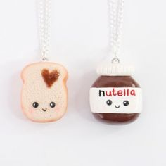 I asked you if you want to see a Kawaii Macaron or Nutella charm . - I asked you if you want to see a Kawaii Macaron or Nutella charm … - Fimo Kawaii, Polymer Clay Kawaii, Kawaii Crafts, Fimo Clay, Polymer Clay Charms, Polymer Clay Jewelry, Friendship Necklaces, Friend Necklaces, Nim C