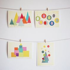 """RESERVED Christmas Decor, Mid Century Art, Print Collection, Geometric Art, Abstract - Set of Three 5x7"""" Collage Paper Prints"""