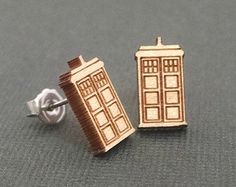 Doctor Who TARDIS Earrings on Maple Wood Laser Engraved and Cut Titanium Post Stud Earring Pair