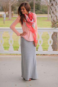 The Mint Julep Boutique :: New Arrivals :: The Long Run Maxi Skirt, Gray
