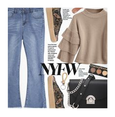 """What to Wear to NYFW"" by beebeely-look ❤ liked on Polyvore featuring MM6 Maison Margiela, Bottega Veneta, Kevyn Aucoin, NYFW, casual, streetwear, bellsleeves and zaful"