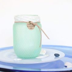 Faux Sea Glass Mason Jar with Netting - Mason Jar Crafts Love