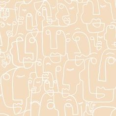 Nude and White Face Wallpaper Mural Tan Wallpaper, Phone Wallpaper Boho, Iphone Background Wallpaper, Aesthetic Iphone Wallpaper, Aesthetic Wallpapers, Abstract Iphone Wallpaper, Doodle Background, Homescreen Wallpaper, Boho Aesthetic
