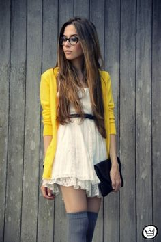 yellow and cream sweater and dress with thigh highs