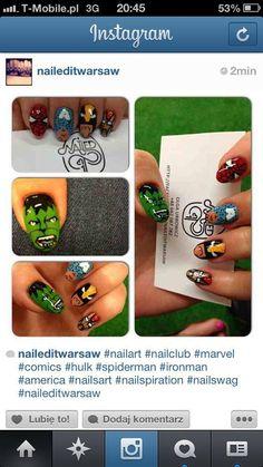 #nails #nailspiration #nailporn #nailswag #nailart #nails #nailsart #nailedit #nail #manicure #mani #marvel #comics #comic #art #geek