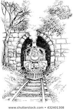 Find Steam train Stock Vectors and millions of other royalty-free stock photos, illustrations, and vectors in the Shutterstock collection. Thousands of new, high-quality images added every day. Landscape Pencil Drawings, Pencil Art Drawings, Art Drawings Sketches, Easy Drawings, Pencil Sketching, Drawing With Pen, Train Drawing, Train Art, Art Sketchbook