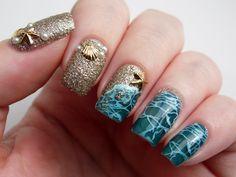 Plus10Kapow: Beach Nails Using Born Pretty Shell and Starfish Embellishments